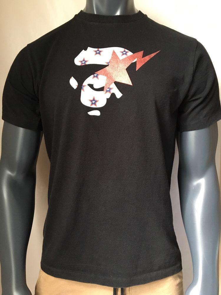 318220fd2ab4 RARE A BATHING APE BAPE Size M Men s Top Black T-Shirt Tee 100 ...