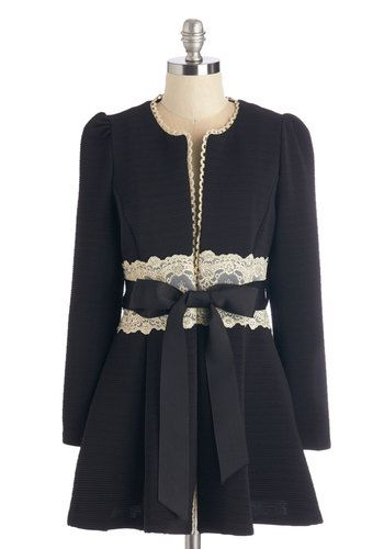 Virtues of Victorian Vogue Coat in Noir - Black, Solid, Lace, Belted, Holiday Party, Vintage Inspired, French / Victorian, Darling, Fall, Wi...