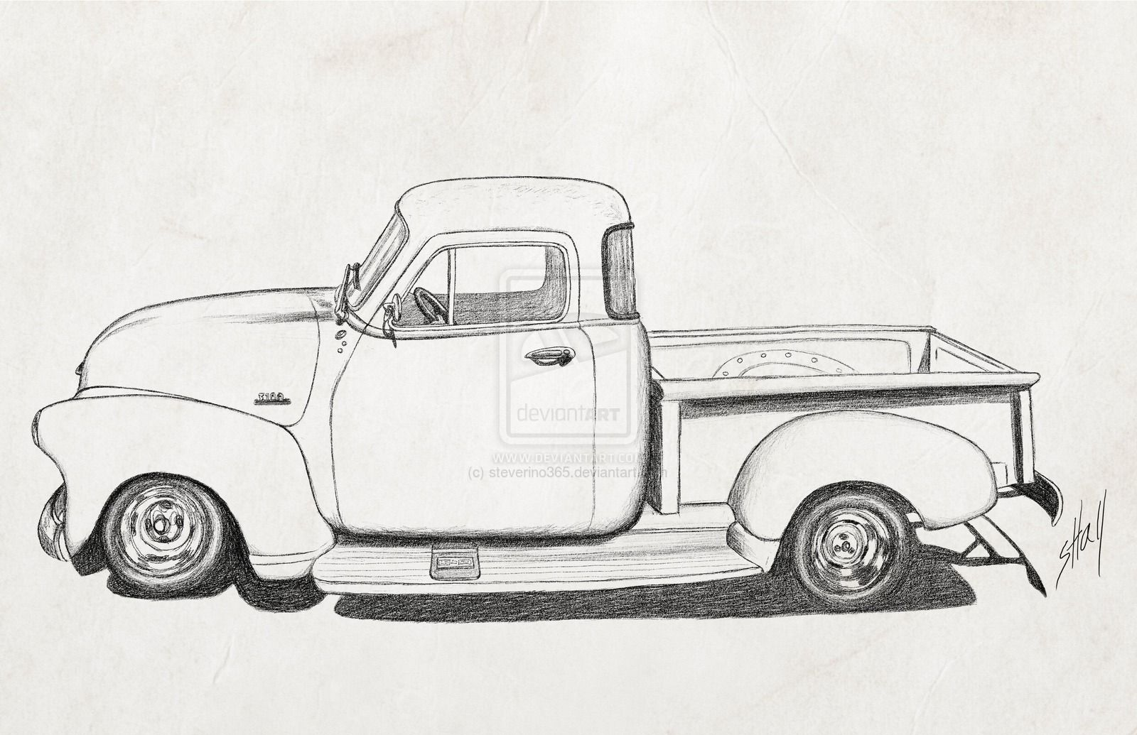 Cartoon 1954 Chevy Truck