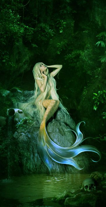 Mermaid. Exactly what you think they are: People with fish tails from the waist down who prefer to live underwater.