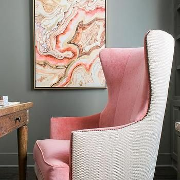 pink and gray office with warm pink velvet twotone wingback chair light summer