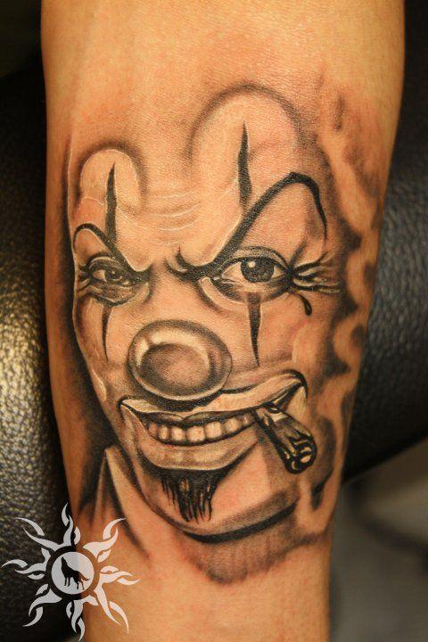 Clown Girl Tattoo Meaning: Smoking Clown Head Tattoo