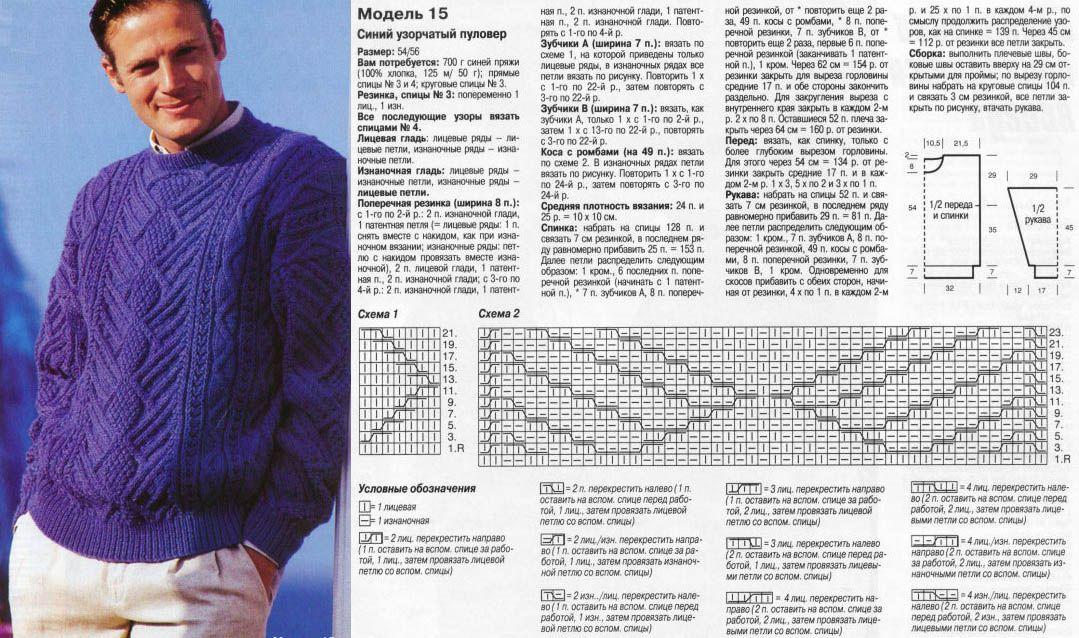 мужские свитера спицами схемы и описание 26 тыс изображений найдено