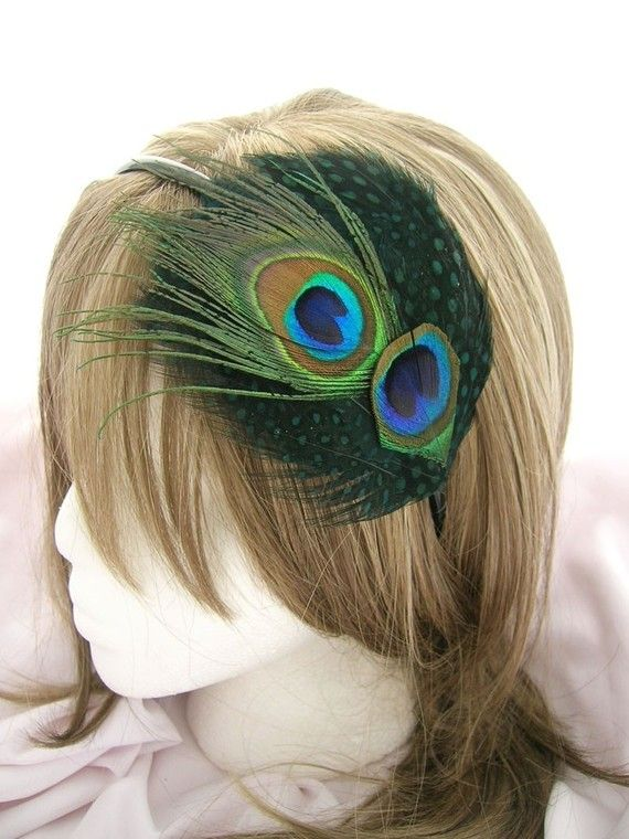 Emerald green feather fascinator with peacock feathers - SPLENDID design -  Choose headband 1e384044441