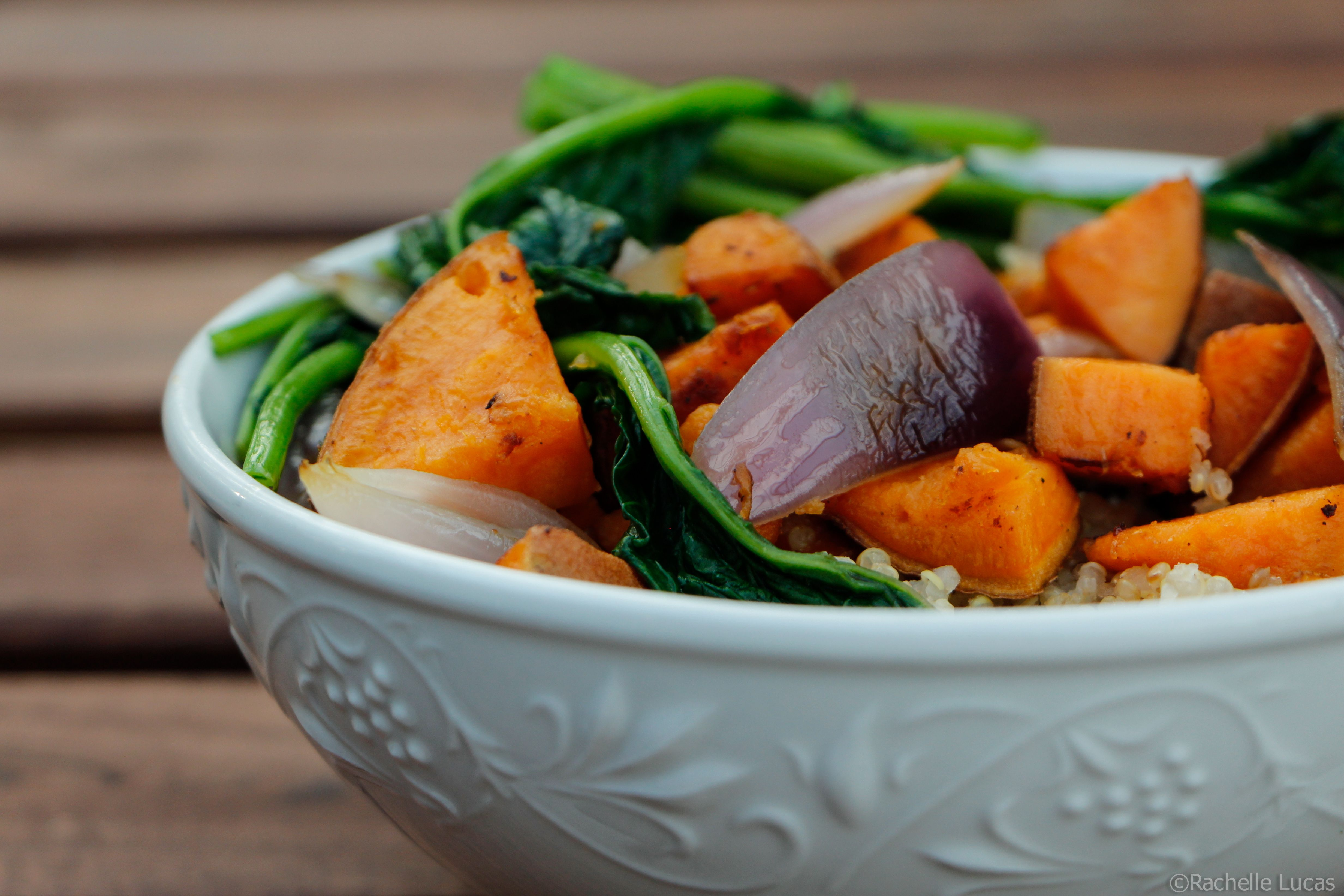 5 Ingredient Dinner ... Roasted Sweet Potato with toasted quinoa and sauteed rapini and onions.  Gluten Free and Vegetarian too!  Here's the #recipe:  http://thetravelbite.com/recipes/5-ingredient-dinner-roasted-sweet-potato-with-quinoa/