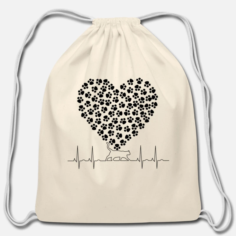 Drawstring Backpack Heartbeat Cat Rucksack
