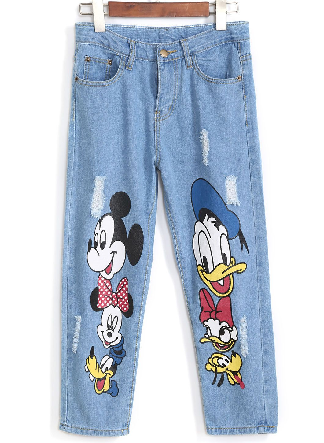 Mickey Mouse And Donald Duck Print Ripped Denim Pant