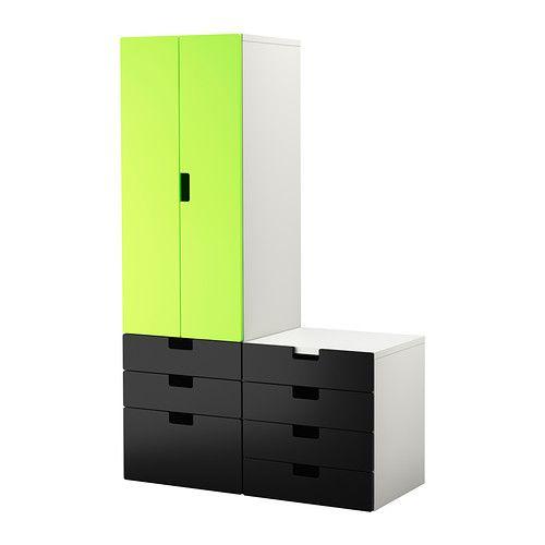 STUVA Opbevaringskom døre/skuffer, hvid, grøn/sort hvid/grøn/sort 120x50x192 cm