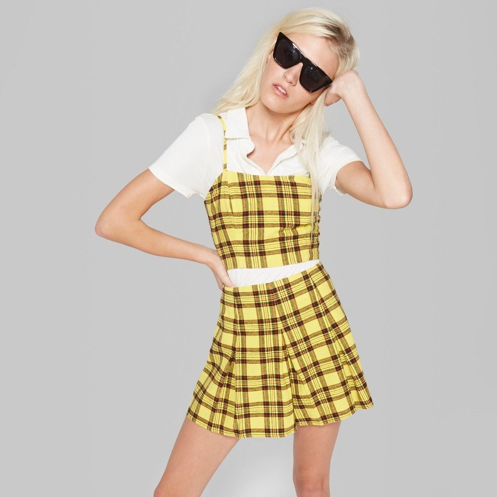 31bad5a02e Women s Plaid Strappy Cropped Woven Top - Wild Fable Yellow L ...
