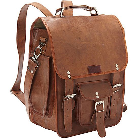 Details about  /Unisex men/'s and women/'s backpack genuine leather business shoulder bag brown