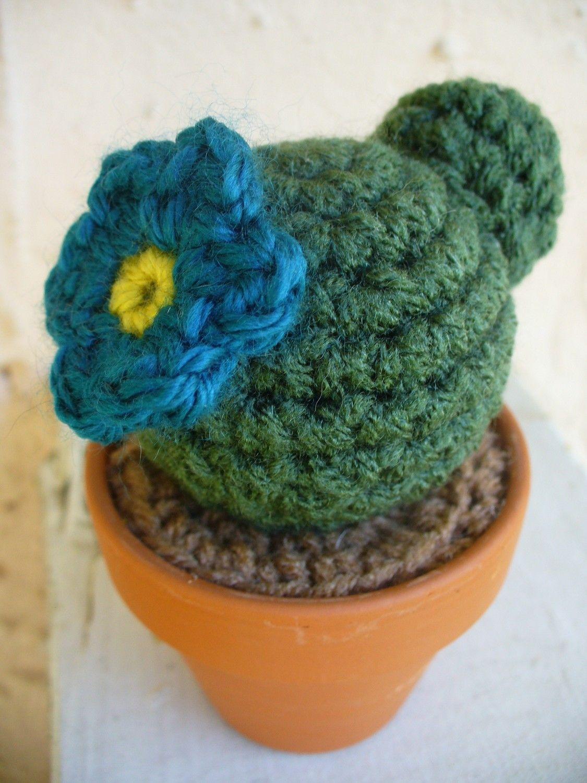 Blue Flower Double Decker Crochet Cactus