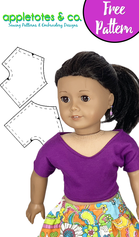 Free Easy Beach Shirt Sewing Pattern for American Girl Dolls - Free 18 Doll Clothes PDF Pattern