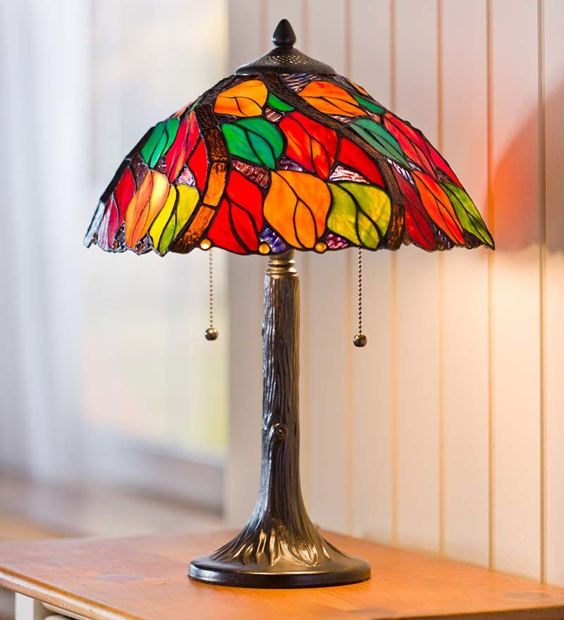Tiffany Style Stained Glass Autumn Leaves Table Lamp
