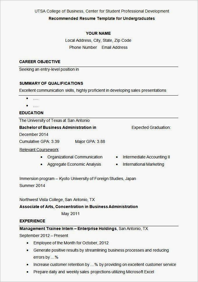 Cv Template University Student Resume Curriculum Vitae Format University Resume Templat Student Resume Template Student Resume College Application Resume