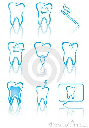Great Vector Illustration Of Dental Symbols For Web Design