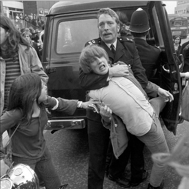 """Kids arrested on the """"schools action union"""" demonstration , organised by Marxist pupil Ginger Finch , London 1972"""