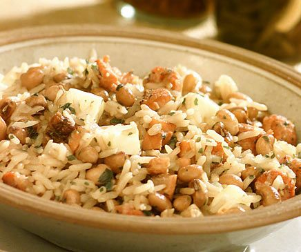 Baiao De Dois Rice And Black Eyed Peas With Bacon Dried Beef Or