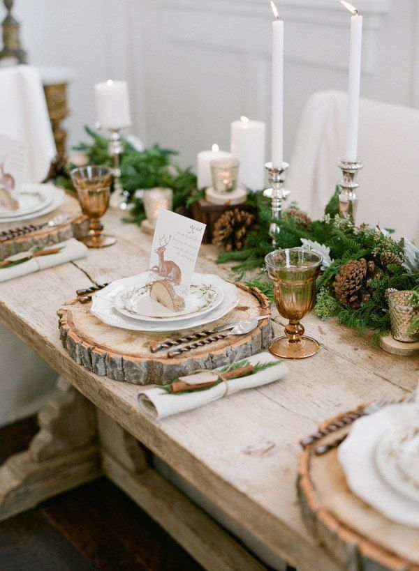 Farmhouse Christmas Table Wooden Slices For Plate Chargers Evergreens And Pinecon Christmas Table Settings Christmas Tablescapes Christmas Table Decorations