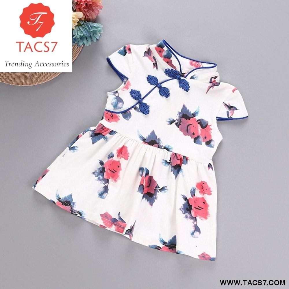 Baby Girl Toddler Summer Romper Flower cheongsam Jumpsuit Princess dress clothes