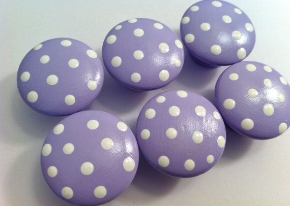 Lilac Polka Dot Drawer Knobs for your Dresser - Perfect for Your Little One's Nursery