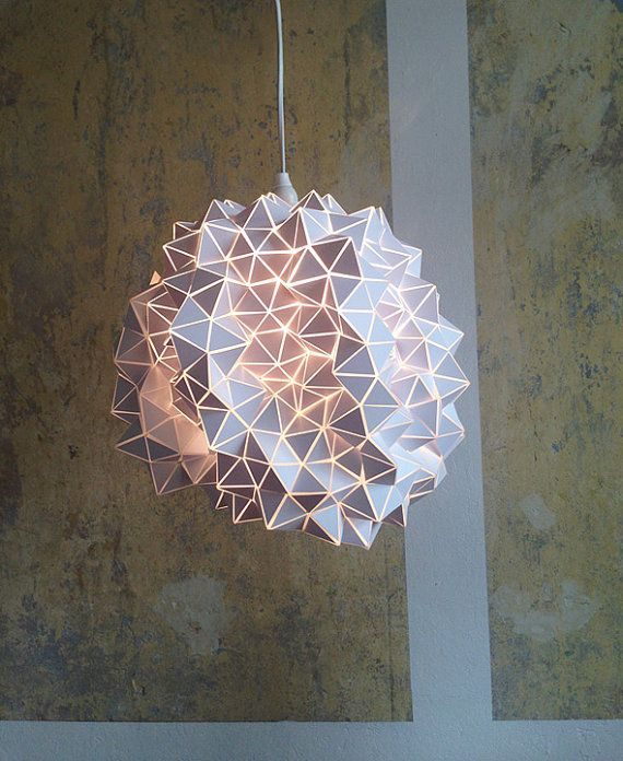 etsy BrittaGould  Geodesic Pendant Lampshade/Light Sculpture---    See video here: http://www.youtube.com/watch?v=rMYiGfwtvSU&sns=em    This is no regular Origami