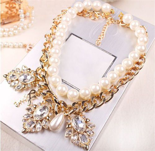 New Fashion Jewelry Pendant Crystal Chunky Pearls Bib Chain Statement Necklace #Unbranded #Fashion