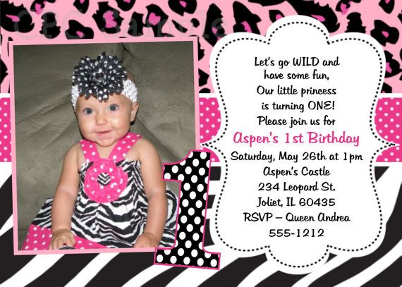 1st birthday invitation pink leopard zebra print 1st birthday, Birthday invitations