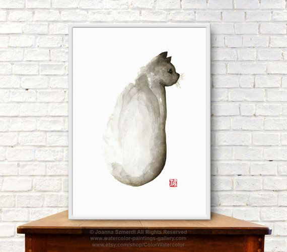 Grumpy Cat Wall Art Print Brown Home Decor by ColorWatercolor #grumpycat #artwork #forsale
