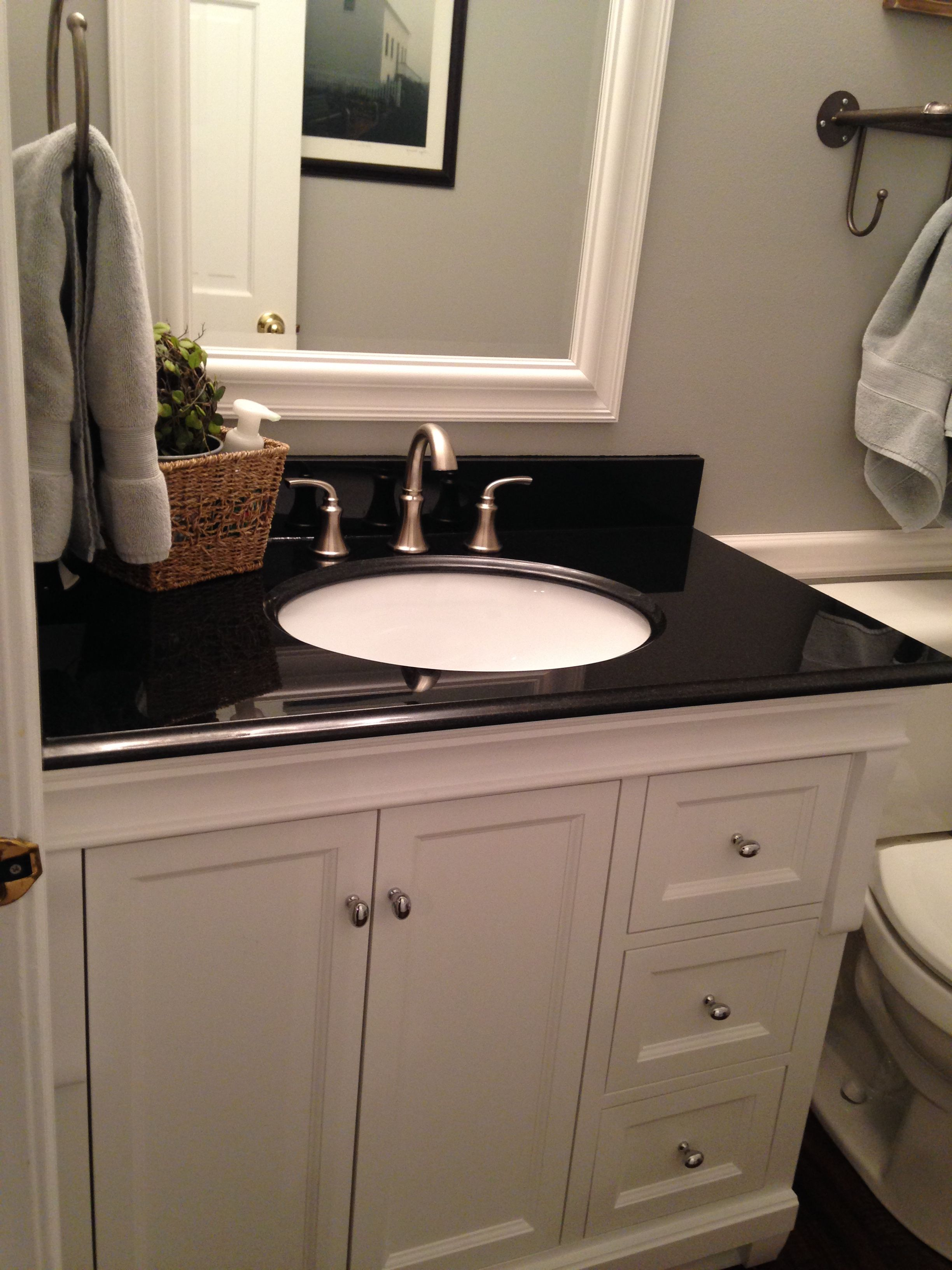 absolute black granite, sherwin williams light french gray, pfister ...