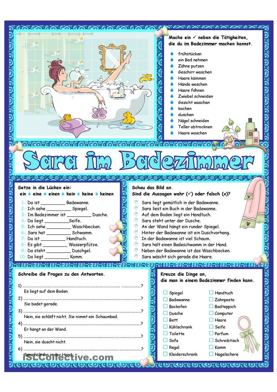 Sara Im Badezimmer Deutsch Lernen Deutsch Daf
