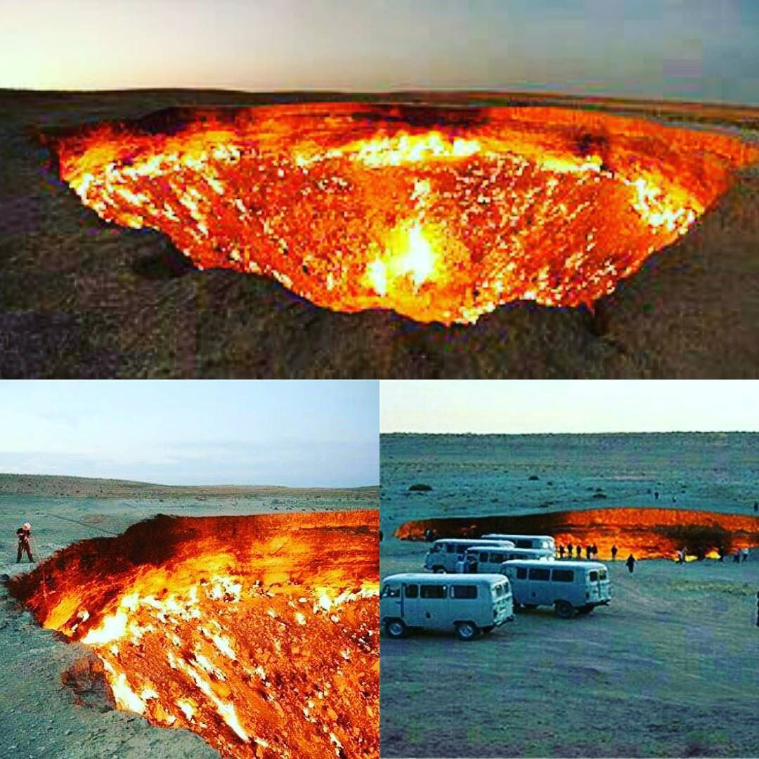 """این تصاویر توسط گردشگران در نزدیکی """"دروازه جهنم"""" در روستای derweze در کشور گازخیز ترکمنستان گرفته شده است. این مکان به منظور رسیدن به منابع گاز طبیعی حفاری شد اما قسمت حفاری به داخل زمین فروکش کرد و دهانهای به قطر حدود  متر ایجاد شد. به منظور جلوگیری از نزدیک شدن ساکنان روستا به این چاله عظیم گازهایی که از آن متصاعد میشوند به آتش کشیده شد و انتظار میرفت که بعد از مدتی آتش خاموش شود اما آتش بیش از چهل سال است که همچنان روشن است از این رو این مکان دروازه جهنم نامیده شد و اکنون مقصد تعداد زیادی…"""