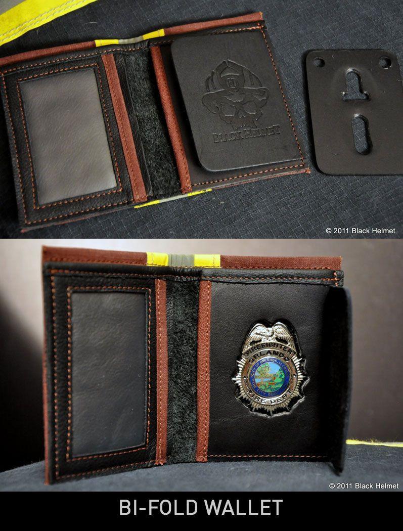 Bunker Gear Badge Wallet (bi-fold)- Black Helmet Firefighter