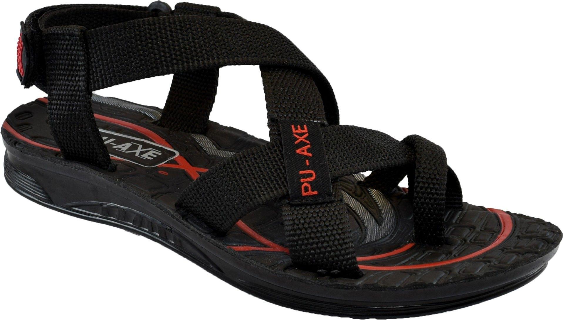 1fbf212598e7 PU-AXE Men Sandals - Buy Black Color PU-AXE Men Sandals Online at Best Price  - Shop Online for Footwears in India