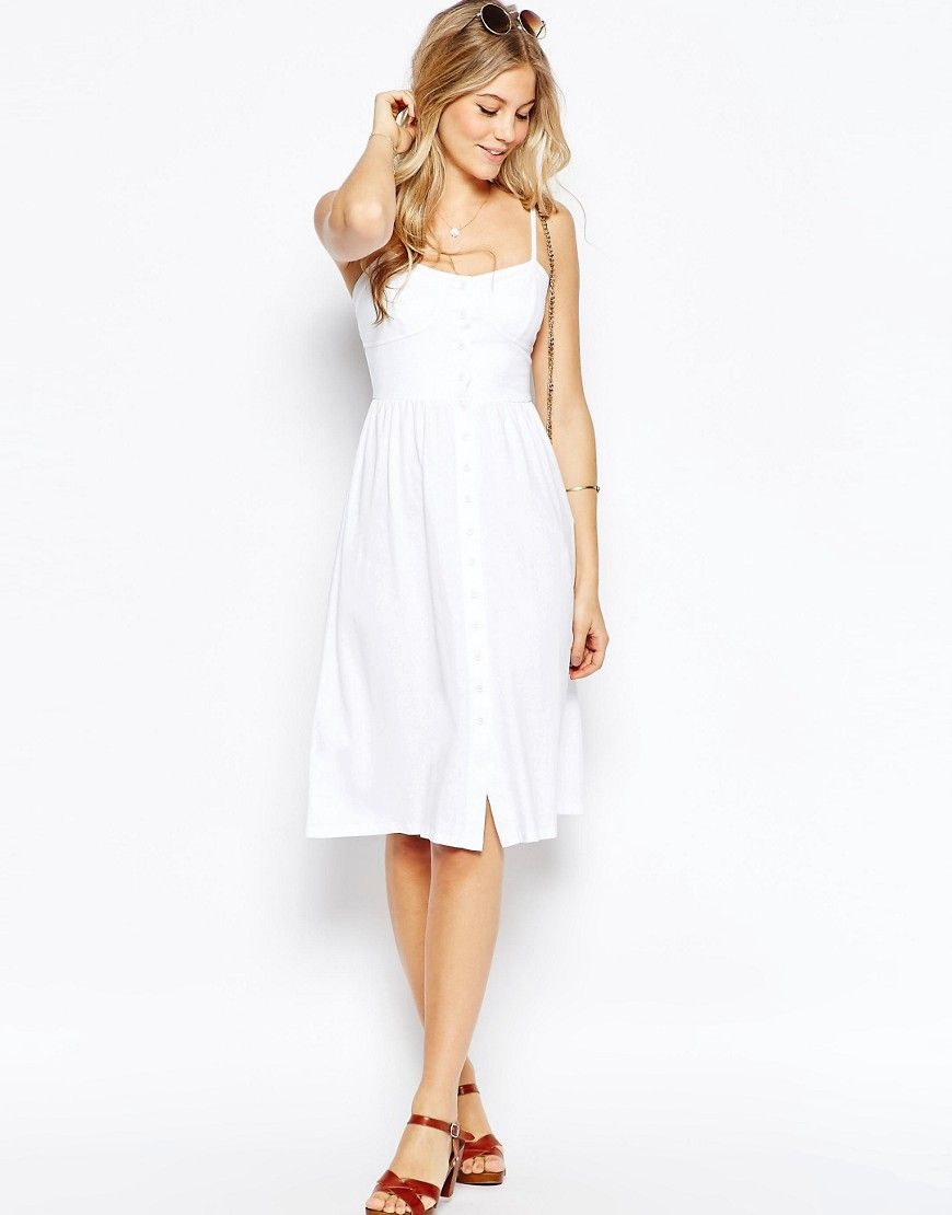 2c56dd836e6 Image 4 of ASOS Midi Sundress With Button Front