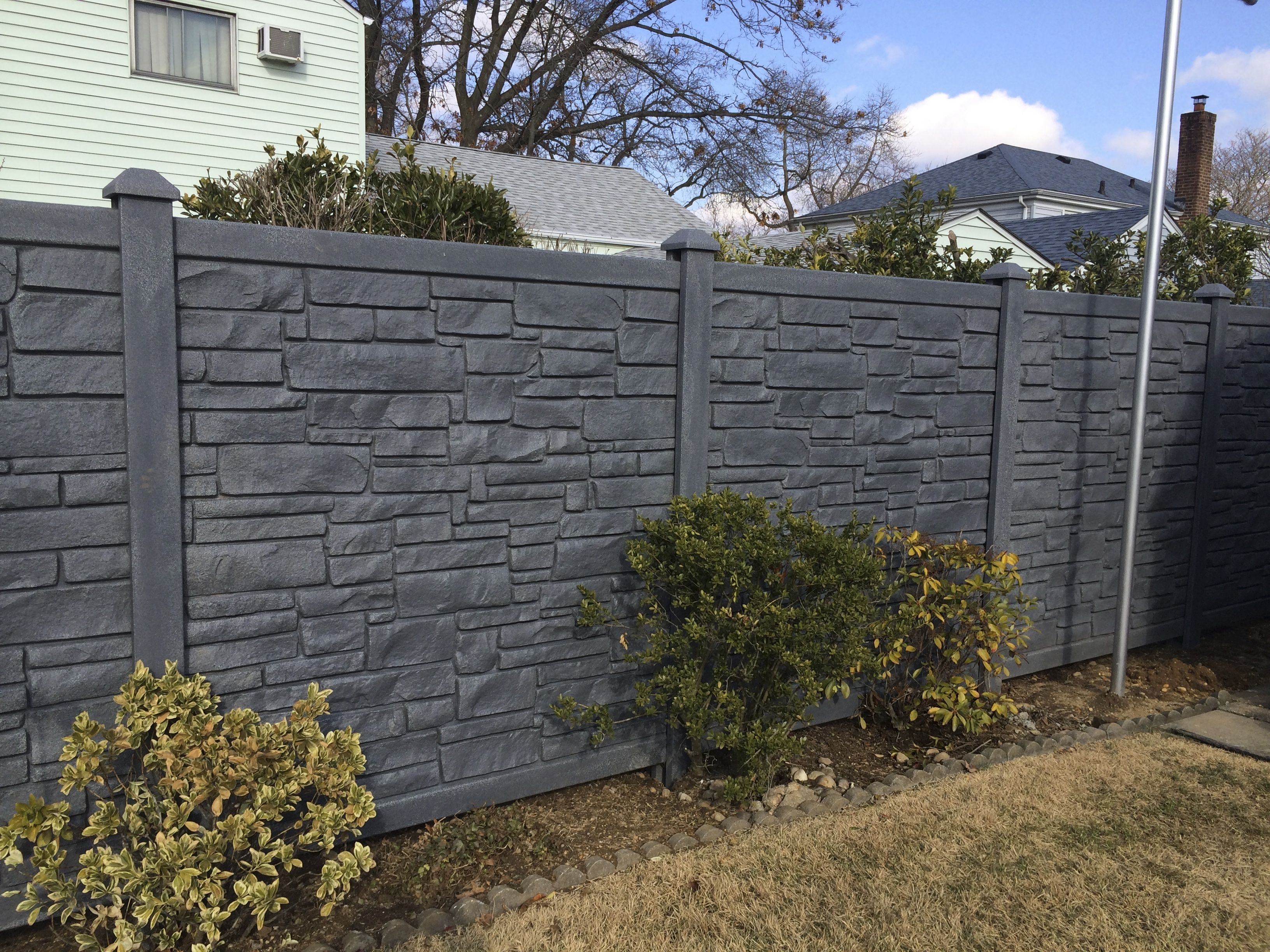 72 Quot Black Vinyl Stone Privacy Fence Installed By Liberty