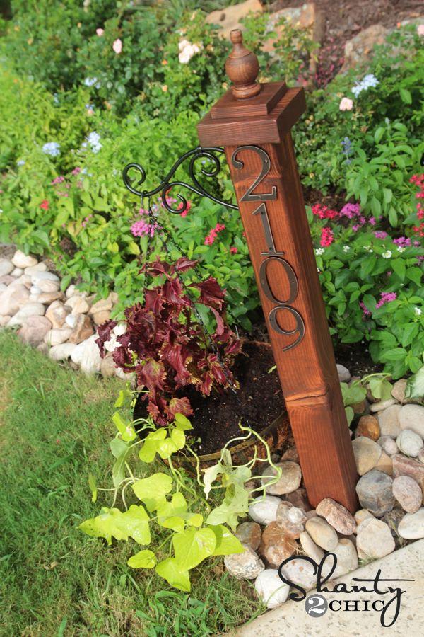 Address Numbers Post Planter Indoor Planters Planters Outdoor Gardens