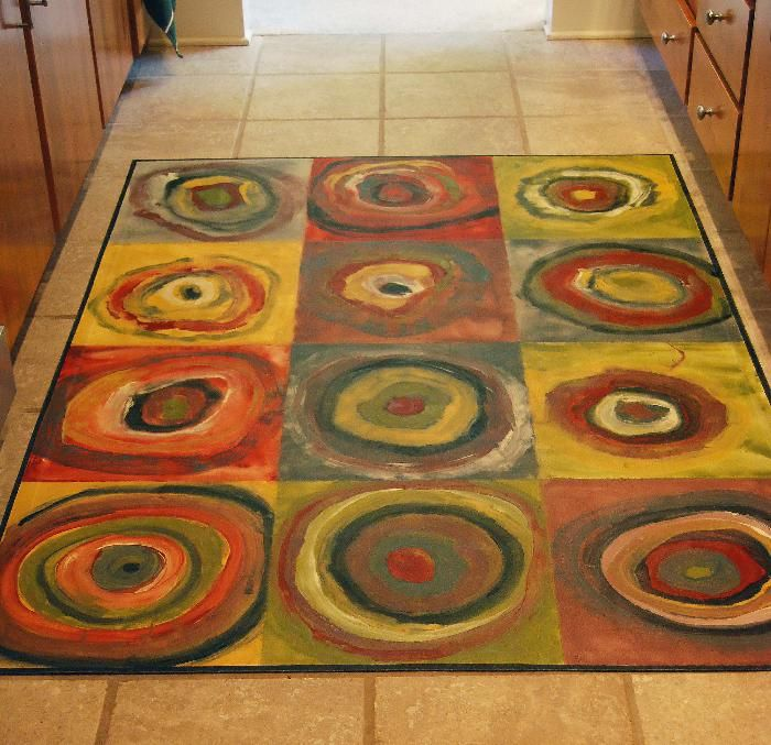 Painted Kitchen Floor Cloth: Great For An Art Piece To Create