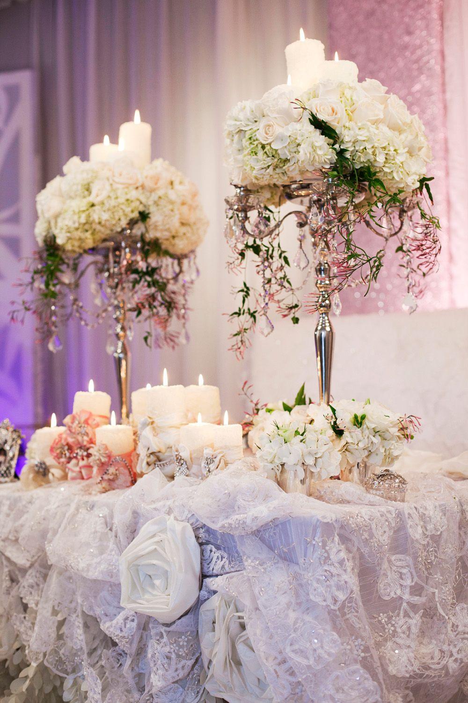Luxurious sweet heart head table decor feminine romance plush bling wedding junglespirit Images