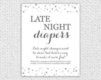 picture about Late Night Diapers Printable identified as Late Night time Diapers Sport Signal, 8x10, Printable Little one Shower