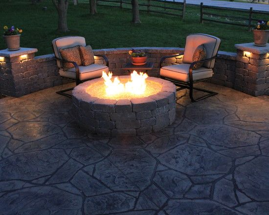 Contemporary stamped concrete patios with outdoor circle for Fire pit on concrete slab