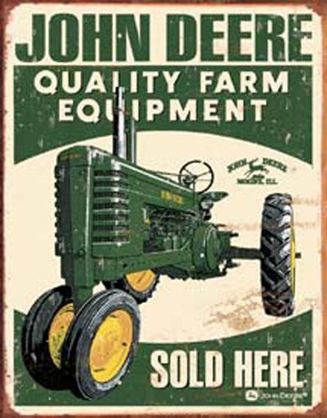 "John Deere Moline 10/"" Embossed Metal Tin Sign Vintage Style Farm Tractor Barn"