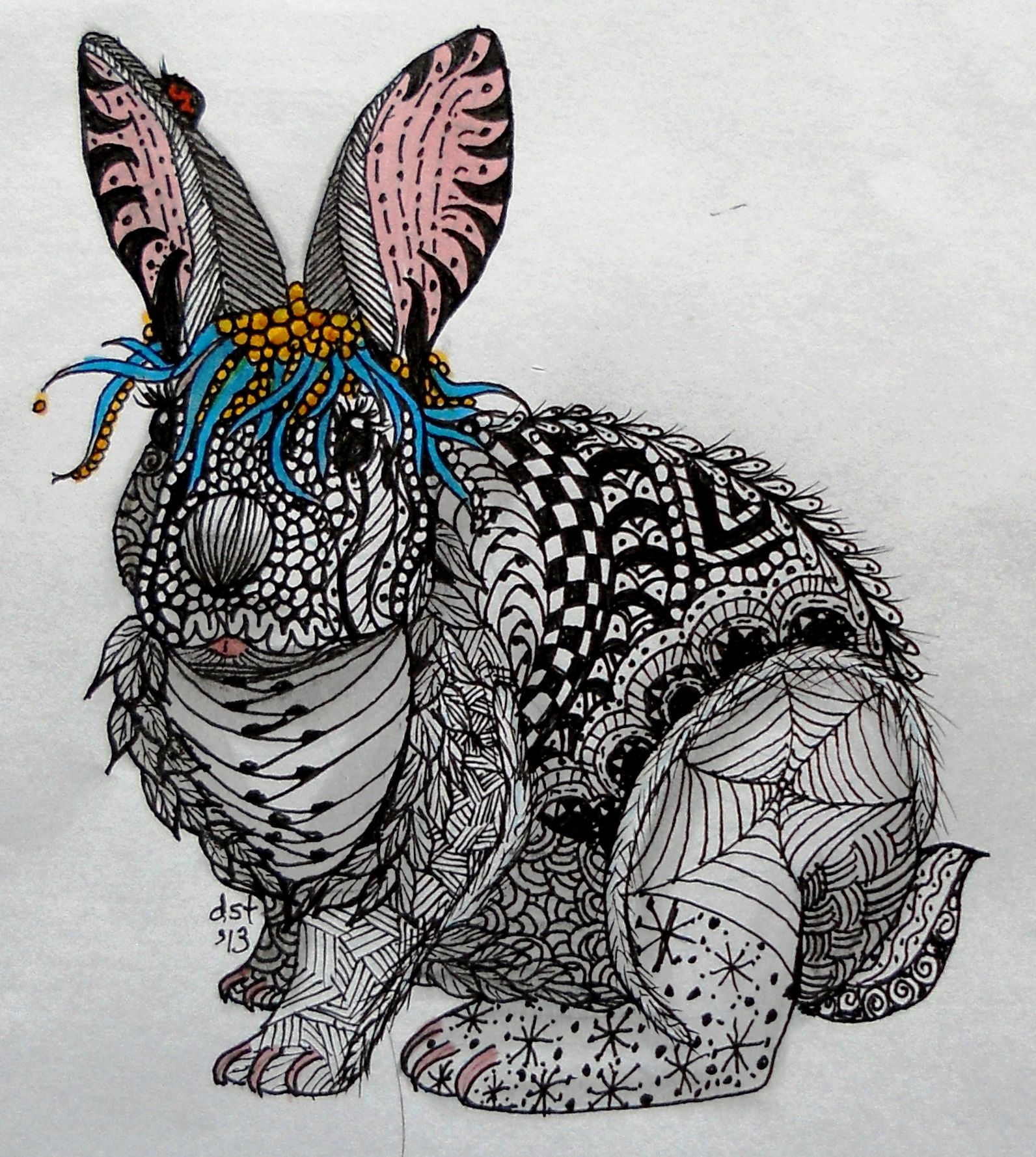 Dusty Zentangle Art Form On The Bunny Check Out The Ear
