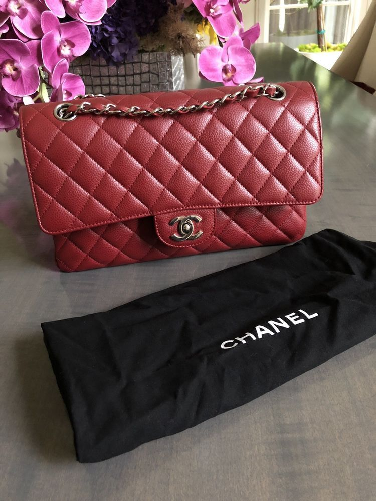 Classic Chanel Quilted Caviar Medium Double Flap Bag Deep Red Chanel Shoulderbag Chanel Classic Chanel Chanel Bag