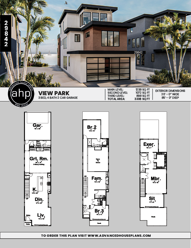 Modern Narrow House Plan View Park In 2020 Narrow House Plans Beach House Plans Narrow Lot House Plans
