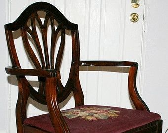 Antique Early American Hepplewhite Style 1940's Mahogany Shield Back Arm  Chair Needle Point Seat