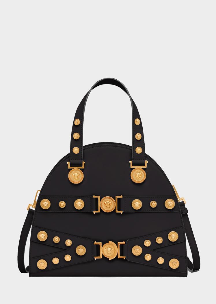 5b26e59bb4 Tribute Handbag | Accessories | Versace bag, Leather satchel, Bags