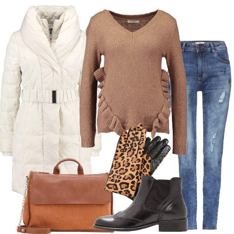 Outfit+everyday+composto+da+cappotto+invernale+bianco,+
