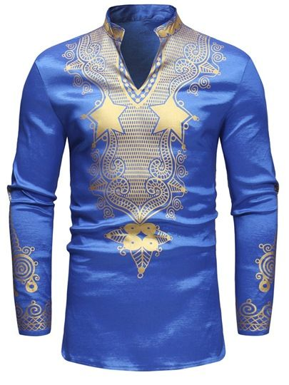 Dashiki Loose African Style Print Men's Shirt #afrikanischerdruck