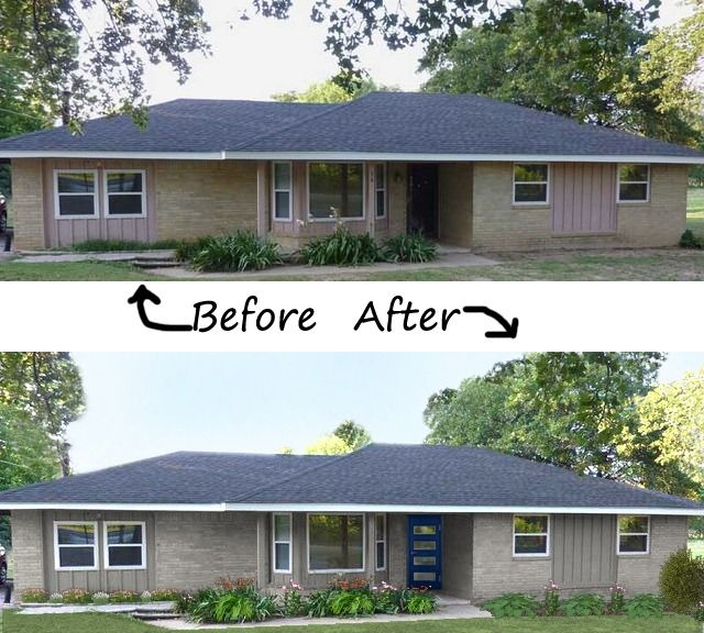 Navy contemporary before and after my front door is in a for Exterior updates for ranch style homes