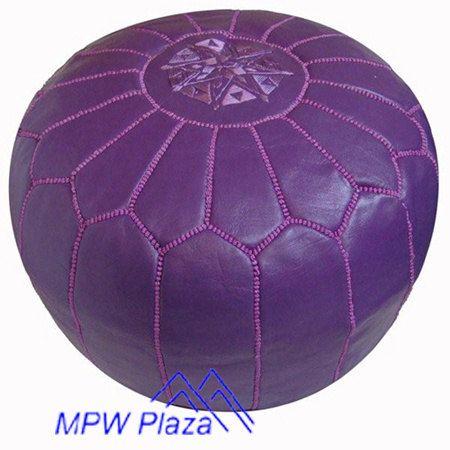 Purple Moroccan Leather PoufOttoman Sold UNSTUFFED On Etsy Classy How To Stuff A Moroccan Pouf